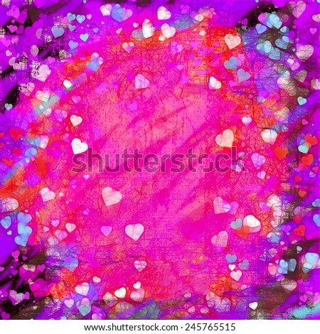 Valentines Day glowing grunge hearts abstract background illustration. Pink center with copy space and black, red, purple, white and turquoise border. - stock photo