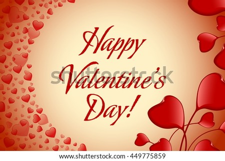 valentines day greeting card with hearts holiday illustration