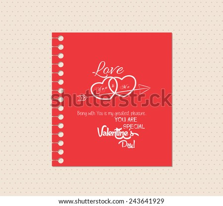 valentines day greeting card with note