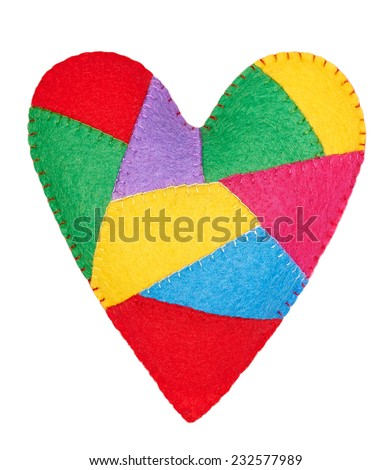 Valentines Day. Handmade Heart of colorful pieces, Love concept. - stock photo