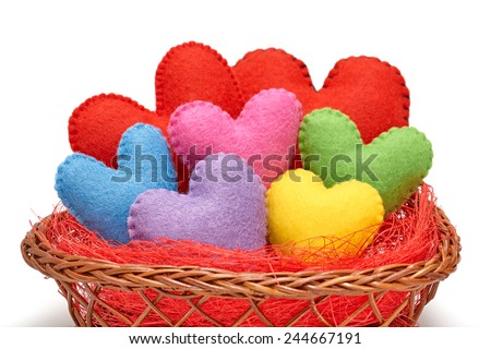 Valentines Day. Handmade Hearts  in nest. Love concept on white background - stock photo