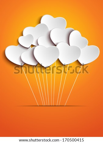 Valentines Day Heart Balloons on Orange Background - stock photo