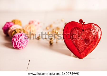 Valentines Day Heart on White Wooden Background