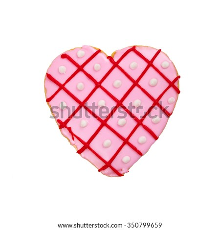 Valentines Day heart shaped cookies isolated on white. Selective focus. - stock photo