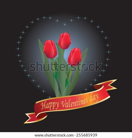 Valentines Day heart with red tulipe - raster - stock photo