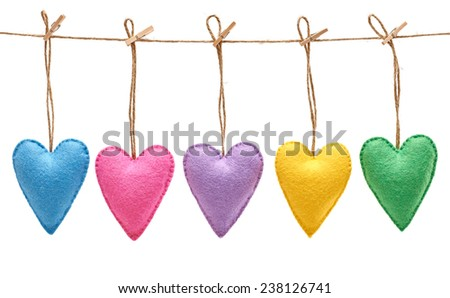 Valentines Day. Hearts Handmade set, hanging on rope. Love concept on white background - stock photo