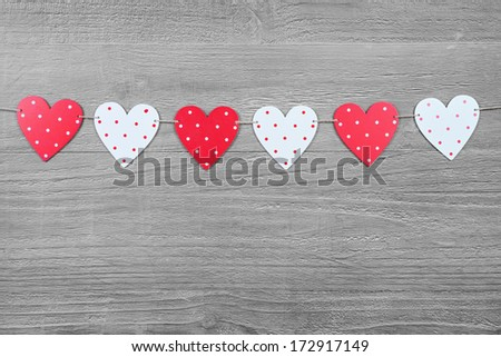Valentines Day hearts on vintage wooden background as Valentines Day  symbol - stock photo
