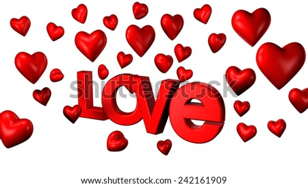 Valentines day - love and hearts illustration - stock photo