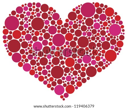 Valentines Day Love Heart Shape Silhouette in Pink and Red Polka Dots Raster Vector Illustration - stock photo
