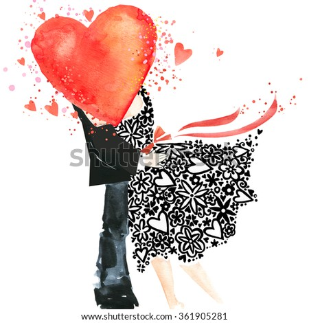 Valentines day. Love you watercolor card. Kiss. man and woman kissing. Kiss. watercolor heart.  Valentine day card. Valentines heart. watercolor background. Watercolor texture drawing  heart.  - stock photo