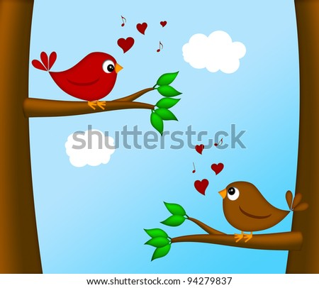 Valentines Day Lovebirds Pair Sitting on Tree Branch Chirping Illustration