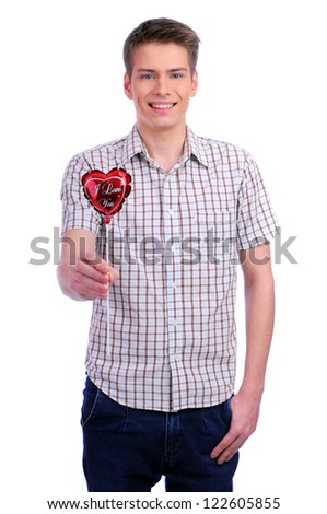valentines day man holding red heart isolated on white background. - stock photo