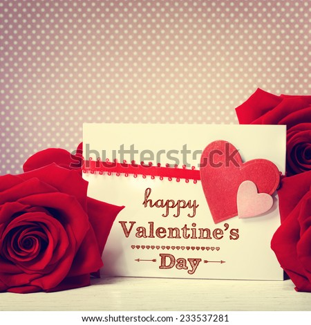 Valentines day message with vivid red roses - stock photo