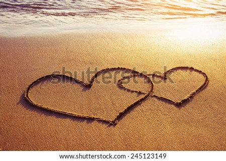 valentines day on the beach - stock photo