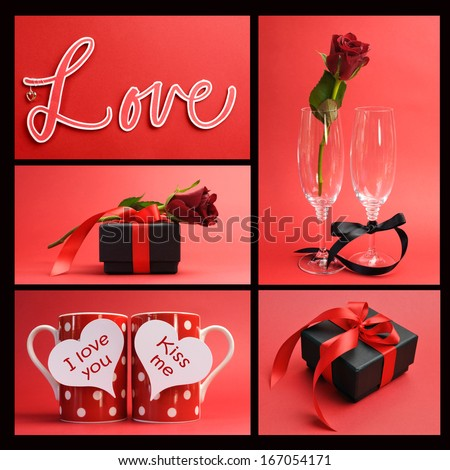 Valentines Day Or Love Theme Collage Of Five Images Including The Word,  Love, Loving