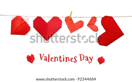 Valentines day origami hearts on a rope - stock photo