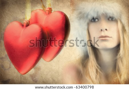 Valentines Day - picture in retro style - stock photo