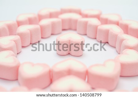 Valentines day pink heart marshmallow in heart shape