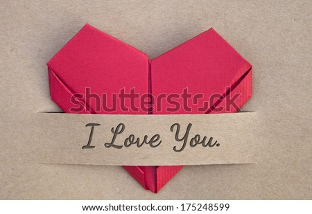 Valentines day postcard,heart, red heart in love banner, I love you, love you - stock photo