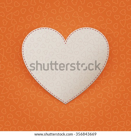 Valentines Day realistic greeting white Heart Card on Orange Background. illustration - stock photo