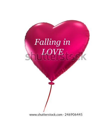 Valentines day red heart balloon, 3d object isolated on white background - stock photo