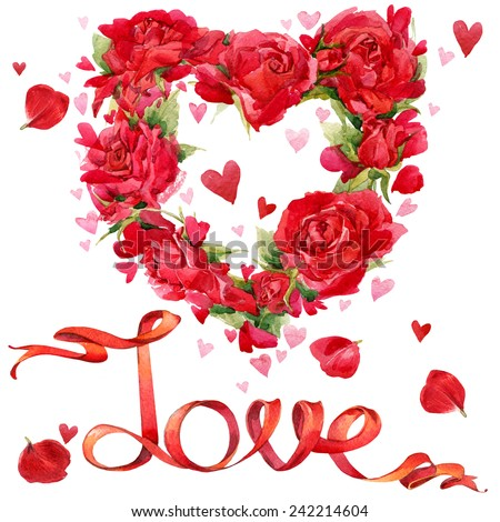 valentines day red heart roses flower stock illustration 242214604, Ideas