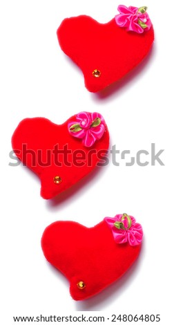 Valentines Day - red hearts on white background