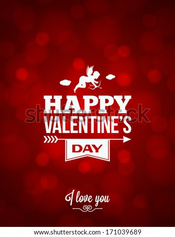 valentines day red light background illustration - stock photo