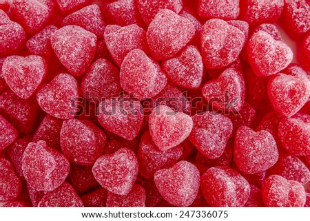 Valentines Day red sugar cinnamon jelly heart candies - stock photo