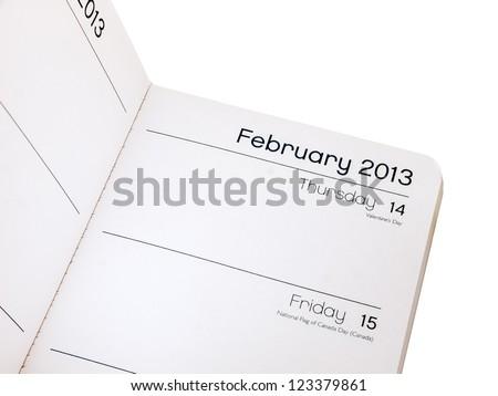Valentines day reminder - diary February 14 - stock photo
