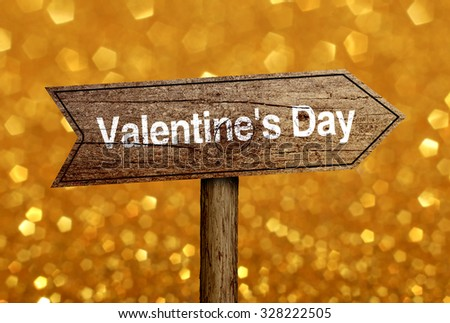 Valentines Day road sign with beautiful bokeh background. - stock photo
