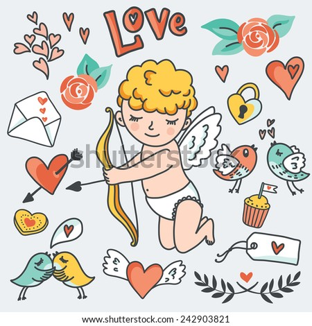 Valentines Day romantic design elements: Cute Cupid, birds, envelopes, hearts - stock photo