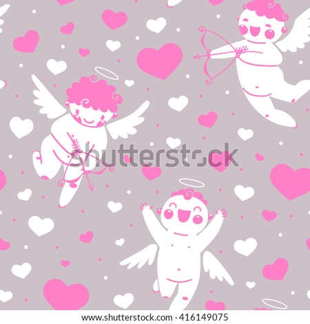 Valentines Day romantic seamless pattern with cute cupid and hearts. - stock photo