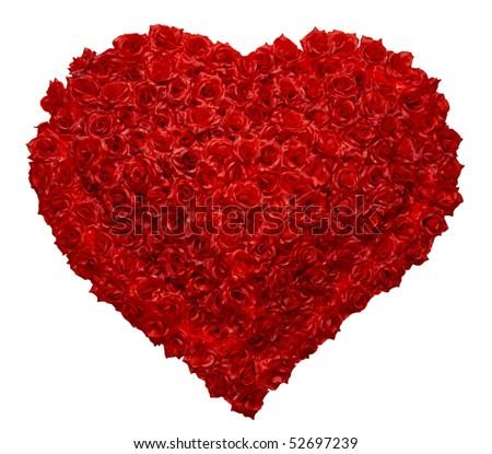 Valentines Day Rose Heart on White Background - stock photo