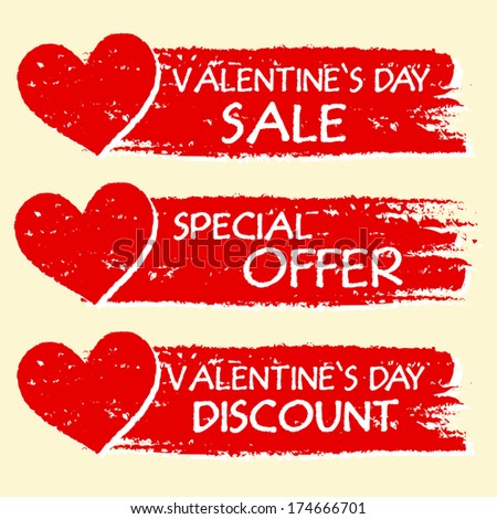 valentines day sale and discount, special offer - text with hearts in three red drawn banners - stock photo