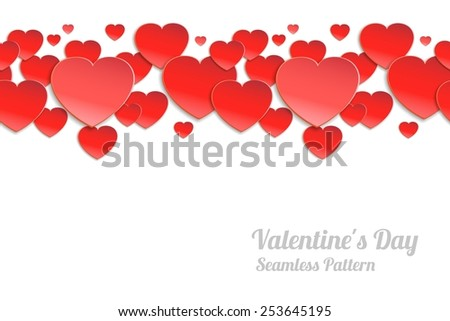 Valentines day seamless horizontal pattern. Red paper hearts on a white background - stock photo