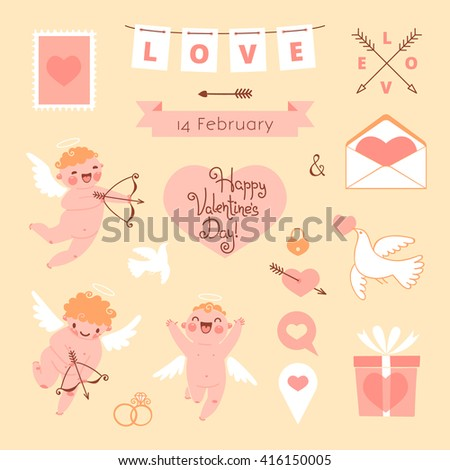 Valentines Day set of elements for design. - stock photo