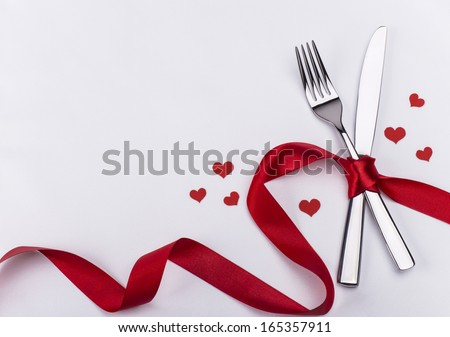 Valentines day silverware set - stock photo