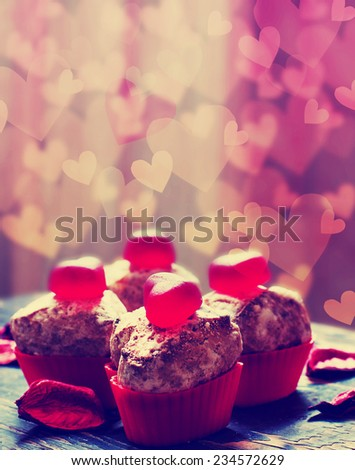 Valentines day sweet background with Chocolate Cookies in the Shape of Heart  - stock photo