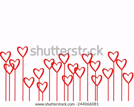 Valentines Day Two Heart Flowers on White Background - stock photo