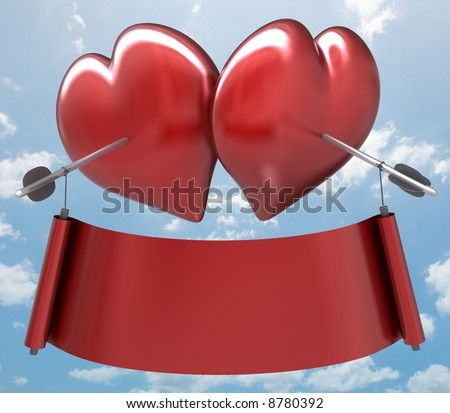 Valentines Day. Two hearts together and two arrows linking the ribbon. You can put the text on the ribbon. - stock photo