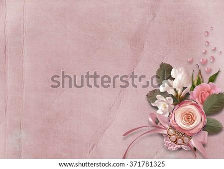 Valentines day vintage background - stock photo