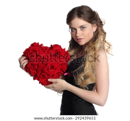 Valentines day woman with big flower heart. Isolated on white. - stock photo