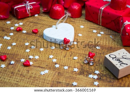 Valentines decoration elements on wooden table