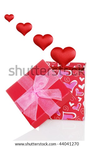 Valentines Gift Box With Red Hearts Floating Out