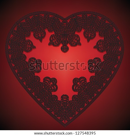 Valentines greeting card with lace heart