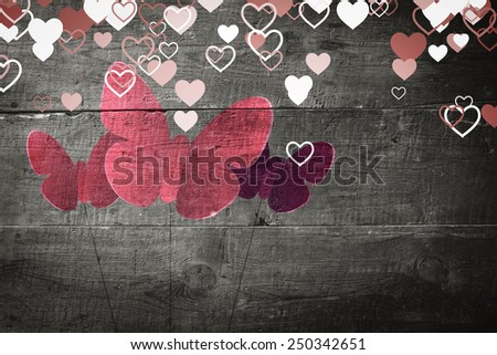 Valentines heart design against overhead of wooden planks