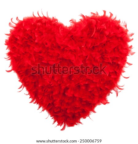 Valentines Heart shaped made of Red feathers on white background. Love concept - stock photo