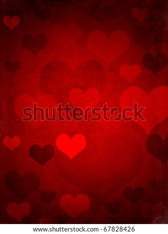 valentines hearts, with a grungy background texture - stock photo