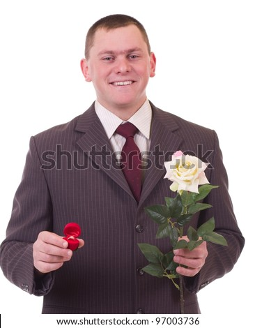 Valentines Man with flowers and gift isolated on white background. Proposal scene - stock photo